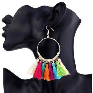 Jewelry - Multicolored tassel hoops